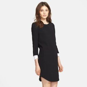 VINCE Leather Strapping Long Sleeve Shift Dress 10